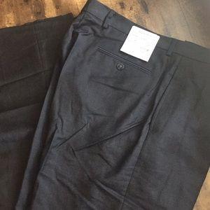 Calvin Klein Flat-Front Strait-Leg Charcoal Pant
